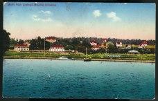Hamnen från 1913. Hankolorerat vykort.