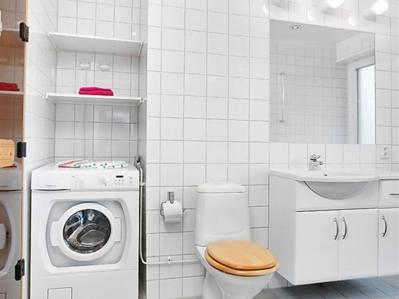 Tvättmaskin installerad i badrummet