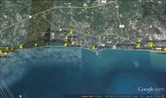 Karta för den nya marknaden på Suan Son stranden