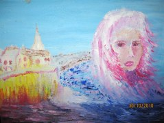 Stormkvinna vid havet