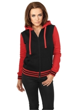 Urban Classics: 2-Tone College Zip Hoody - black/red (S)