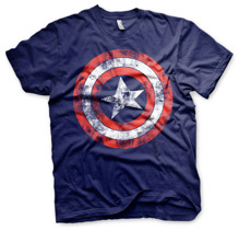 MARVEL´S AVENGERS: Captain America Distressed Shield T-Shirt (Navy)