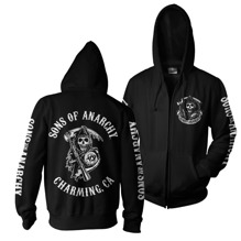 SONS OF ANARCHY: SOA Full CA Backprint Zip Hood (Black)