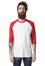 Urban Classics: Contrast 3/4 Sleeve Raglan Baseball Tee - white/red