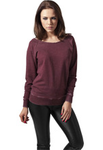 Urban Classics: Burnout Open Edge Crewneck - burgundy