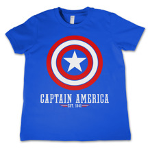 MARVEL´S AVENGERS: Captain America Logo Kids T-Shirt (Blue) (8 år)