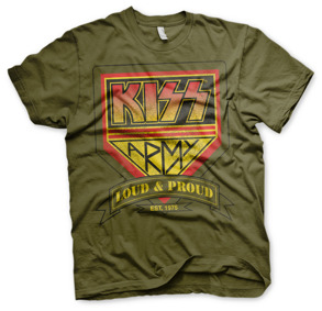 KISS: KISS ARMY - Loud & Proud Distressed Logo T-Shirt - olive