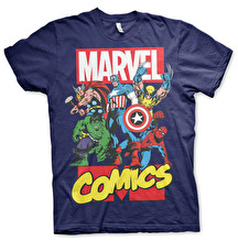 Marvel Comics Heroes T-Shirt (Navy)