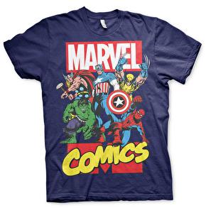 Marvel Comics Heroes T-Shirt (Navy)