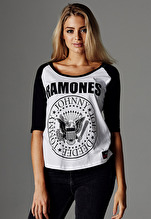 Ramones: Ladies Ramones Circle Raglan Tee - white/black