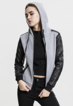 Urban Classics: Diamond Leather Imitation Sleeve Zip Hoody - grey/black (XS)