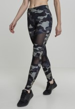 URBAN CLASSICS Camo Tech Mesh Leggings - dark camo/black