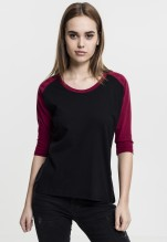 Urban Classics: Ladies 3/4 Contrast Raglan Tee - black/burgundy