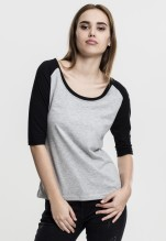 Urban Classics: Ladies 3/4 Contrast Raglan Tee - grey/black