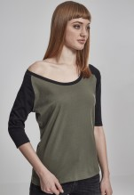 Urban Classics: Ladies 3/4 Contrast Raglan Tee - olive/black (XL)