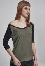 Urban Classics: Ladies 3/4 Contrast Raglan Tee - olive/black
