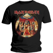 Iron Maiden: Powerslave Lightning Circle Unisex T-shirt - black