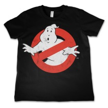 Ghostbusters Distressed Logo Kids T-Shirt (Black) (6 år)