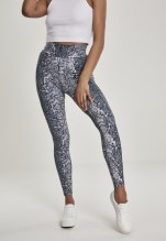 URBAN CLASSICS Ladies AOP High Waist Leggings - grey snake