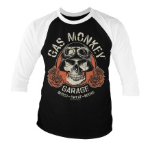 Gas Monkey Garage - Skull Baseball 3/4 Sleeve Tee (Black/White) (L)