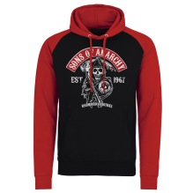SONS OF ANARCHY: Redwood Original Red Patch Baseball Hoodie (Black/Red)