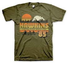 Stranger Things: Hawkins ´85 Retro Unisex T-Shirt (Olive)