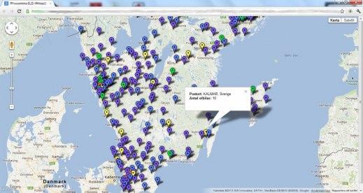 Lokalisering av elbilar i södra Sverige vid årsskiftet - Källa: ELIS - Easycharge