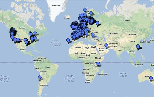 Kartbild över alla CHAdeMO-snabbladdstationer