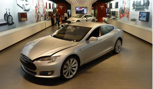 Bild från ett av Teslas försäljningsställen