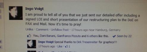 Facebook inlägg av Ingo Voigt