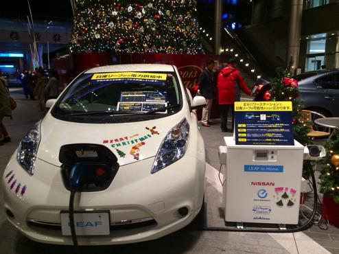 Nissan LEAF to Home förser julgransbelysningen med el