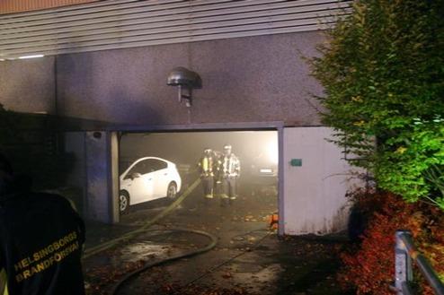 Garagebrand i Helsingborg. Bild från Helsingbors dagblad