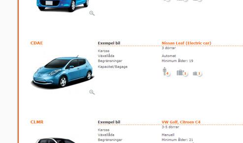 Nissan LEAF går att hyra hos SIXT i Danmark, men inte i Sverige