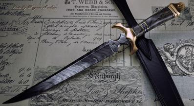 Asymetrical Dagger - Birch Burl, Bronze and Damasteel blade.