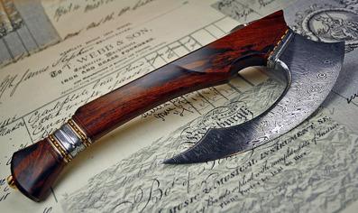 The Horizon -  Tenth Anniversary axe in Damasteel, Bronze and Ironwood.
