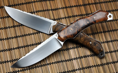 Twin Hunters - RWL34 steel with Birchburl and Oakburl scales on respective knife.