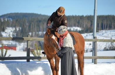 Samverkan - Sir Louie, Sara och Birgitta en vinterdag i Sundsvall