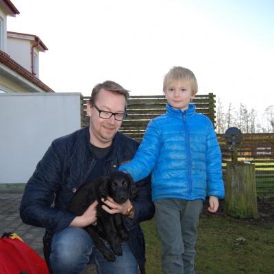 Jens & Axel Danielsson och Rosa tik som heter Emma, de bor i Lerum
