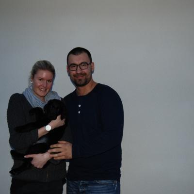 Ida Andersson med Turkos hane, de bor i Gislaved