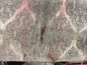 Mönstrad sammet, grå/rosa - Mönstrad sammet, grå/rosa