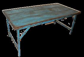 Matbord, trä och järn, blått - Bord blå