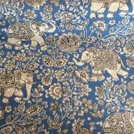 Tyg Elefant, blå 50%