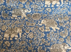 Tyg Elefant, blå 30% - Tyg blå elefant