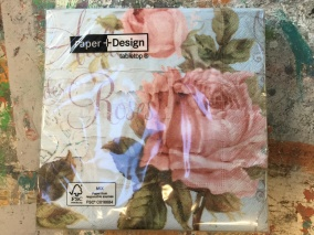 Servett 33x33 Rosa ros blå botten - Servett rosa ros
