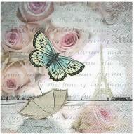 Servett fjäril ros 33x33