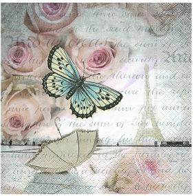 Servett fjäril ros 33x33 - Servett fjäril ros 33x33