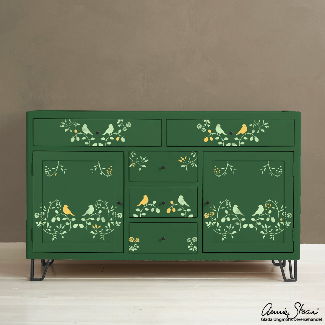 Countryside-Bird-Stencil-Furniture-Amsterdam-Green,-Lem-Lem,-Tilton
