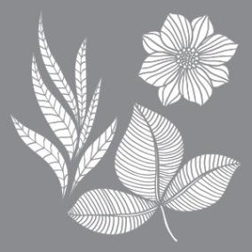 Stencil Petals & Leaf - Stencil Petals & Leaf   20 x 20 cm.