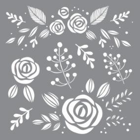 Stencil Whimsical Floral - Stencil Whimsical Floral  20 x 20 cm.