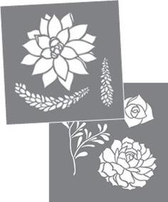 Stencil Succulents set av 2 - Stencil Succulents set av 2.  20 x 20 cm